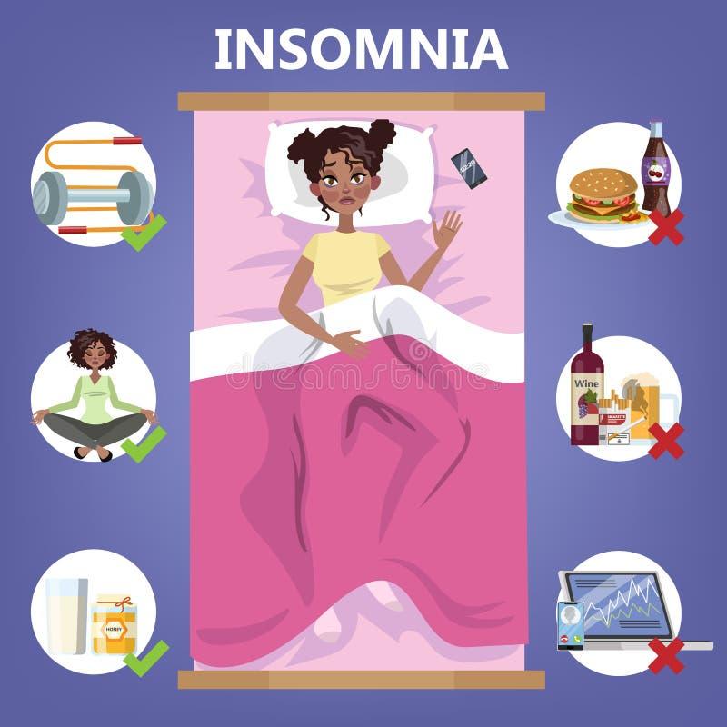 Regole di sonno sano Routine di ora di andare a letto per buon sonno royalty illustrazione gratis