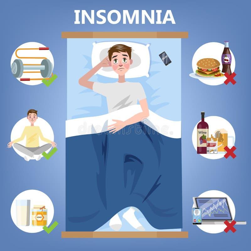 Regole di sonno sano Routine di ora di andare a letto per buon sonno illustrazione di stock