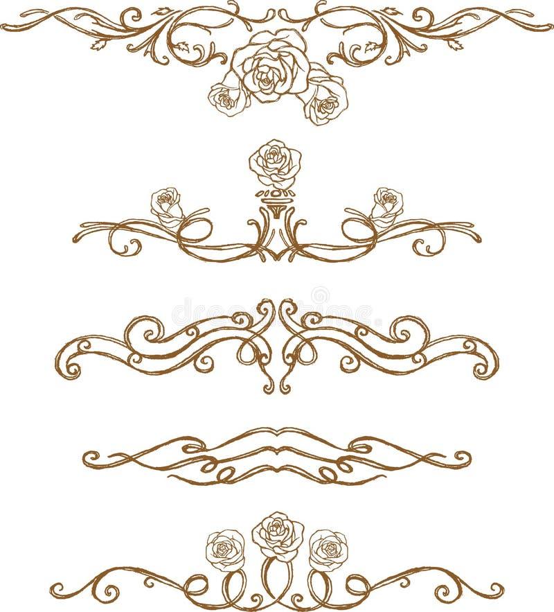 Regra da página de Rosa do esboço ilustração royalty free