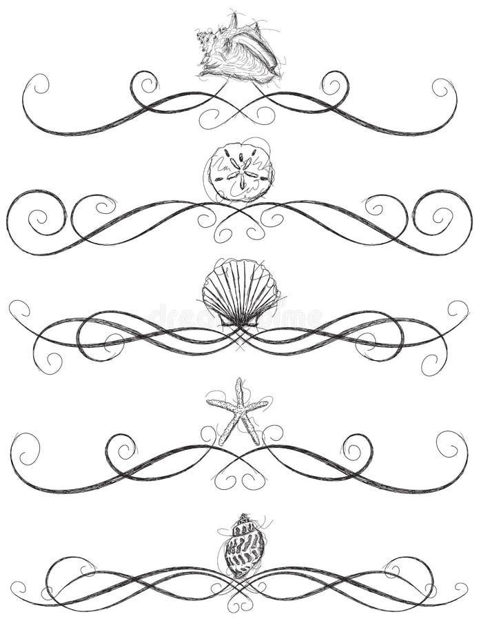 Regras da página da concha do mar ilustração royalty free