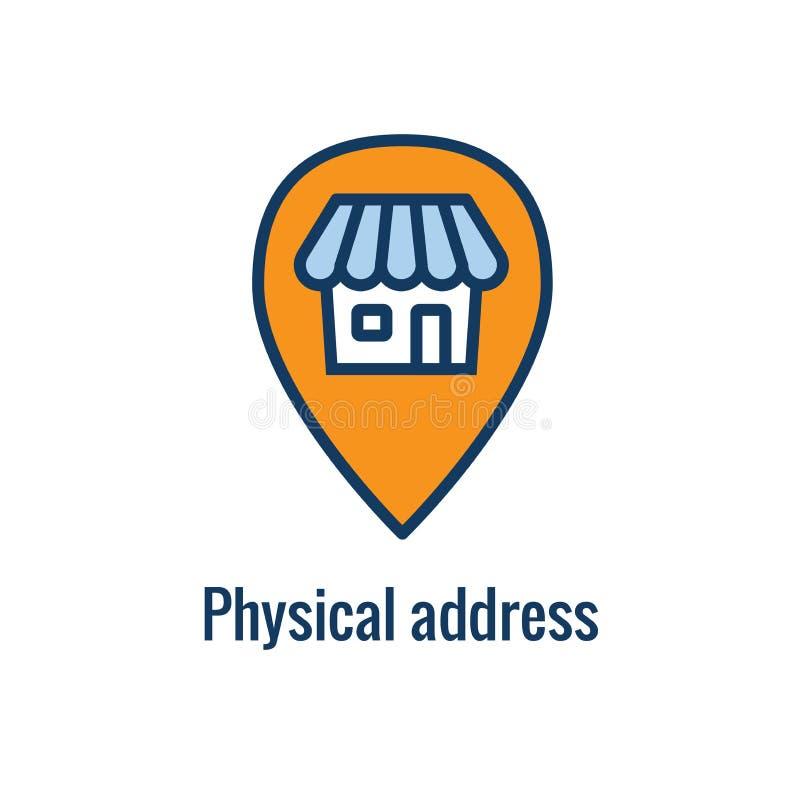 Regras de mercado do e-mail - ícone dos regulamentos com ideia do endereço físico ilustração stock