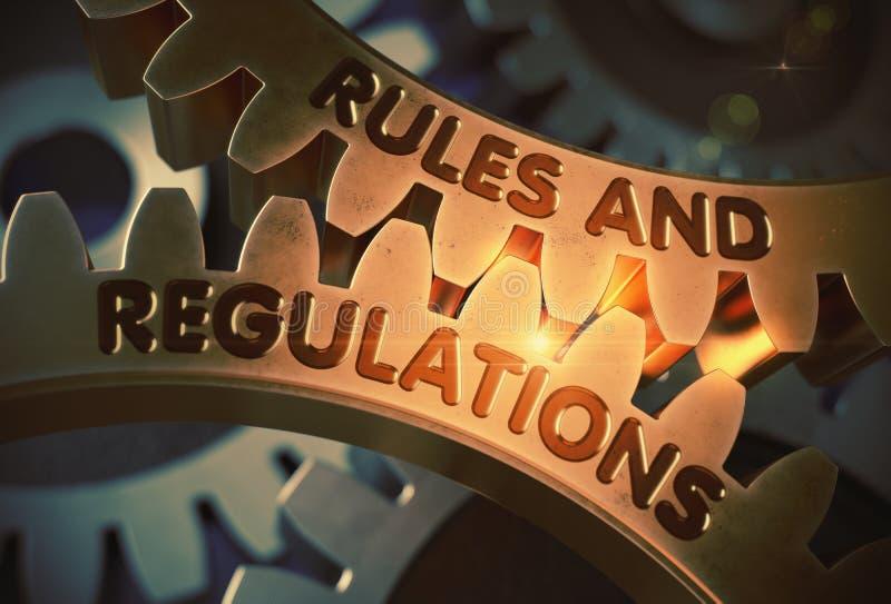 Regras e regulamentos nas engrenagens douradas ilustração 3D ilustração stock