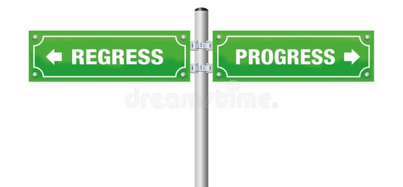 Regrediera framsteggatatecknet stock illustrationer