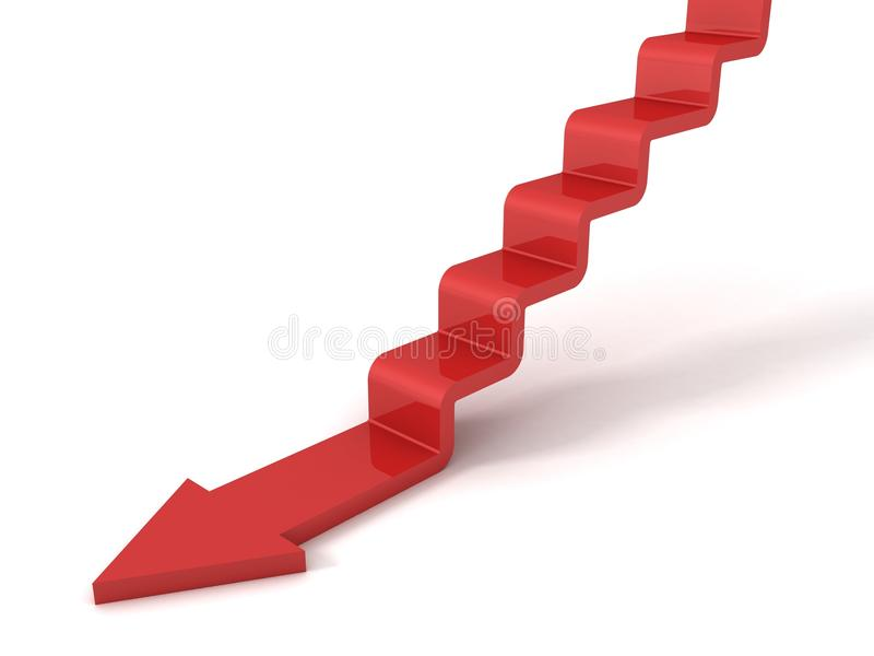Regress as etapas vermelhas da escada da seta do conceito para baixo ilustração do vetor
