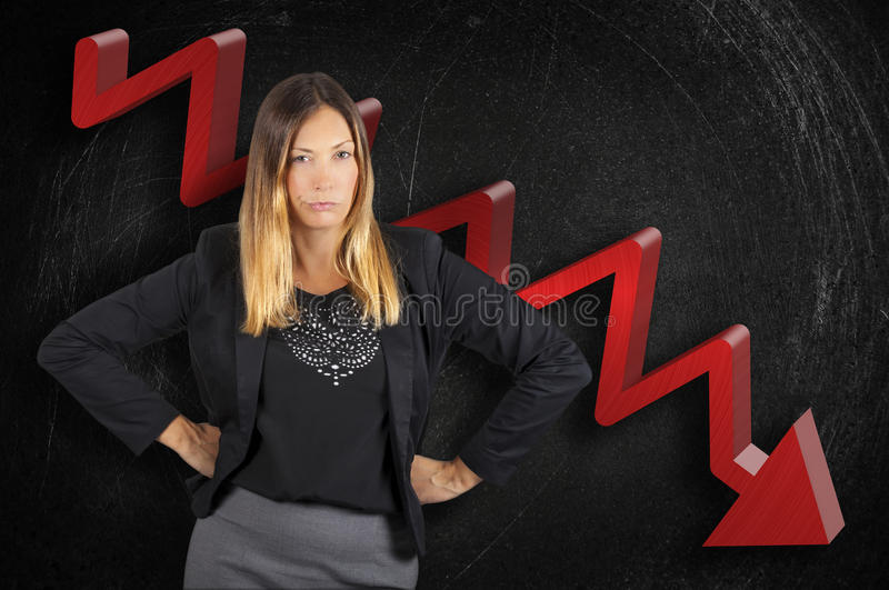 Regression business boss woman angry on chart in loss stock images