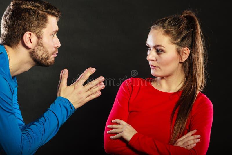 Regretful man husband apologizing upset woman wife stock images