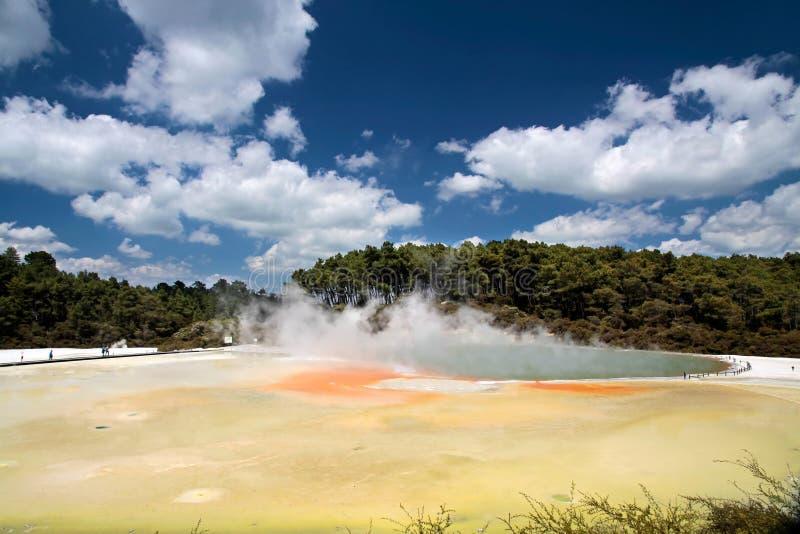Regroupement de Champagne à la région géothermique de Wai-o-Tapu photo libre de droits