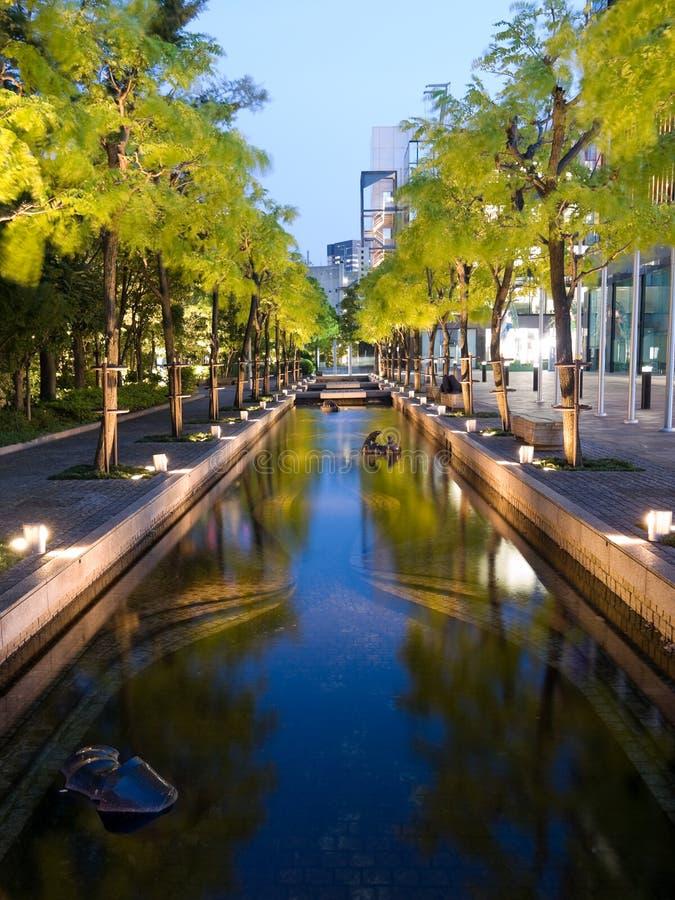 Regroupements de l'eau lumineux la nuit image libre de droits