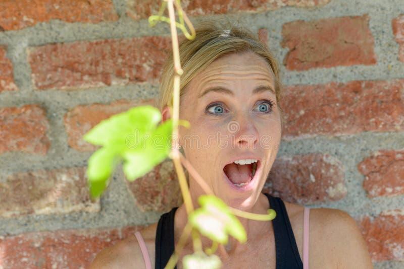 Regt die blonde Frau auf, die in der Verwunderung reagiert lizenzfreie stockfotos