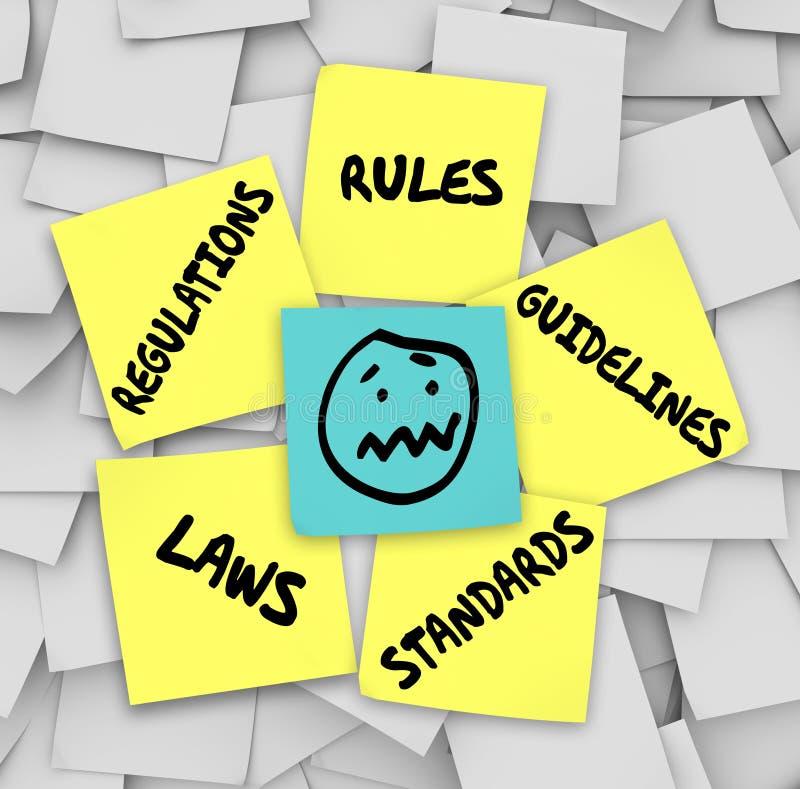 Reguła przepisów praw standardów Kleiste notatki Stresująca się twarz ilustracja wektor