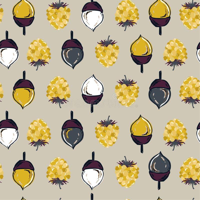 Regu sans couture de vecteur de modèle d'automne, de cône de pin, d'écrous et de baies illustration libre de droits
