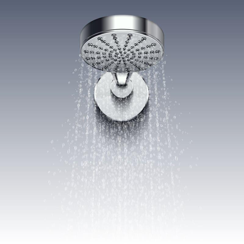 Regue a cabeça do metal com os gotejamentos da ilustração do vetor da água isolada no fundo branco ilustração royalty free