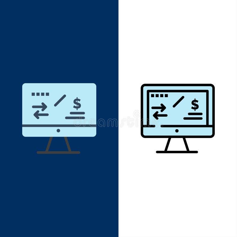 Regulación de impuesto, finanzas, renta, iconos del ordenador El plano y la línea icono llenado fijaron el fondo azul del vector stock de ilustración