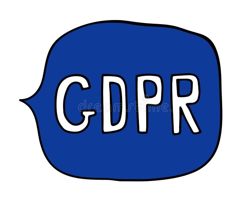 Regulación general de la protección de datos - burbuja del discurso de GDPR stock de ilustración