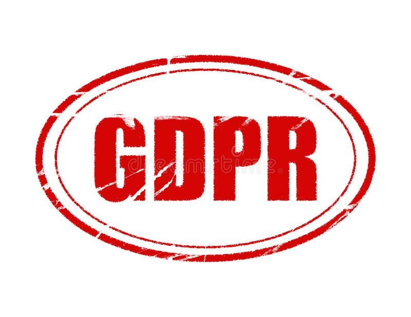 Regulación general de la protección de datos de GDPR fondo blanco con el sello aislado ilustración del vector