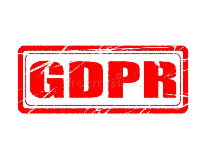 Regulación general de la protección de datos de GDPR fondo blanco con el sello aislado stock de ilustración