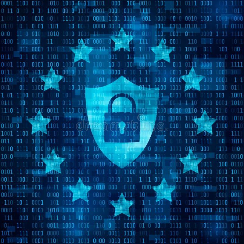 Regulación general de la protección de datos - GDPR Shild con el candado, datos seguros Estrellas en fondo azul de la matriz Vect stock de ilustración