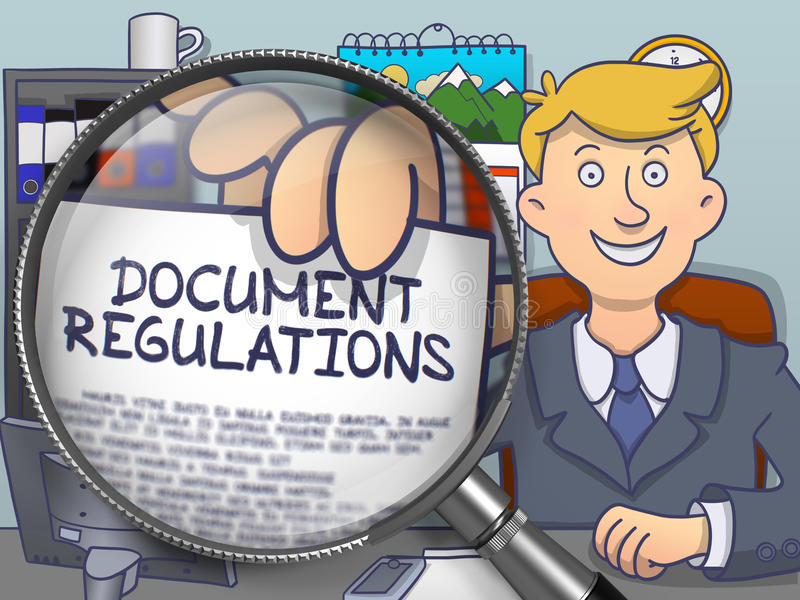 Regulaciones del documento a través de la lupa Diseño del garabato ilustración del vector