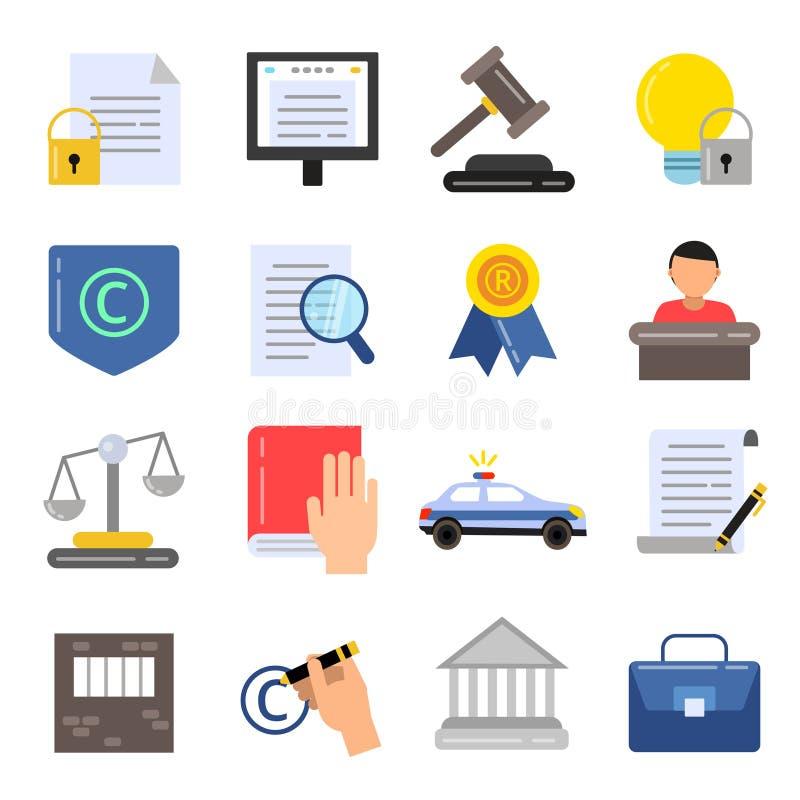 Regulaciones legales de Copyright Iconos del negocio de la ley y de la protección Imágenes del vector en estilo plano libre illustration