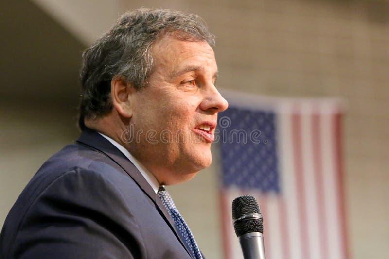 Regulador Chris Christie do candidato presidencial de New-jersey imagens de stock