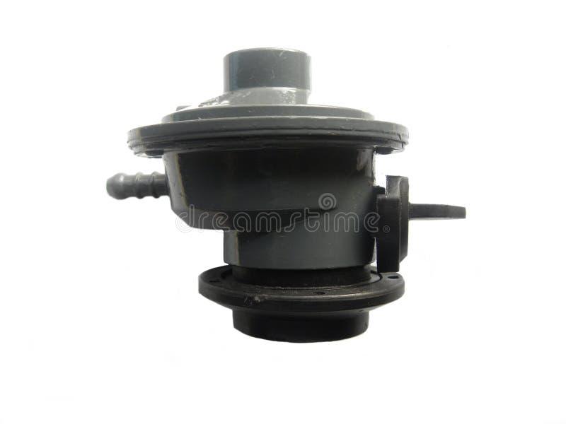 Regulador cinzento do cilindro de gás da cor imagens de stock