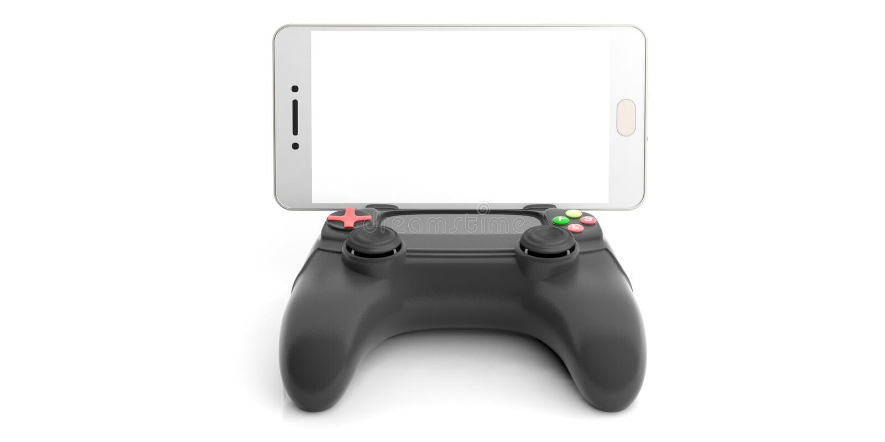 Regulador de consola de los videojuegos y un smartphone ilustración 3D stock de ilustración