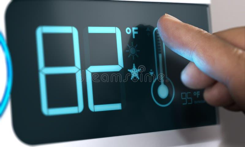 Regulador de temperatura del termóstato de Digitaces Set en 82 grados de Fahrenheit stock de ilustración