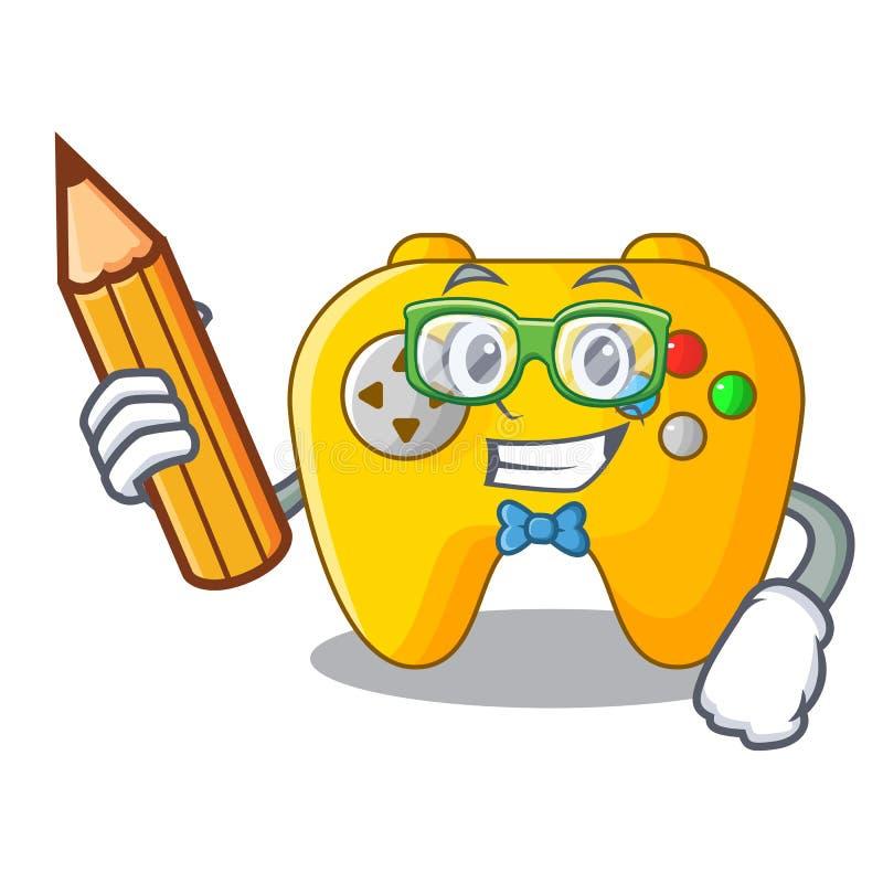Regulador del juego de Video del estudiante formado en charcter stock de ilustración