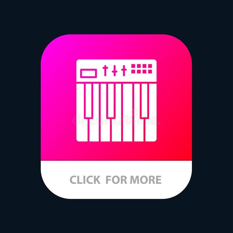 Regulador, hardware, teclado, Midi, botón móvil del App de la música Android y versión del Glyph del IOS stock de ilustración