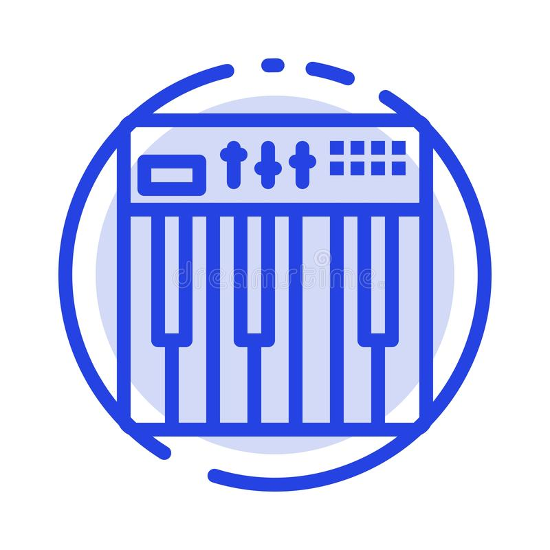 Regulador, hardware, teclado, Midi, línea de puntos azul línea icono de la música stock de ilustración