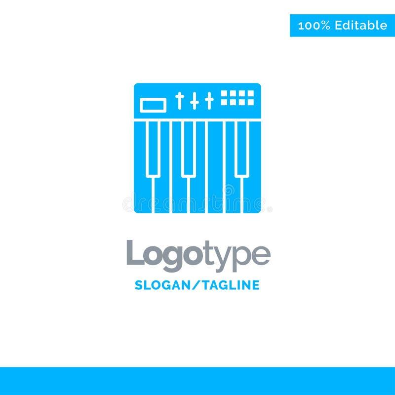 Regulador, hardware, teclado, Midi, música Logo Template sólido azul Lugar para el Tagline ilustración del vector