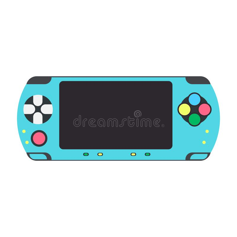 Regulador video del icono del vector del juego de la videoconsola Ejemplo plano del ordenador de la palanca de mando de la tecnol stock de ilustración