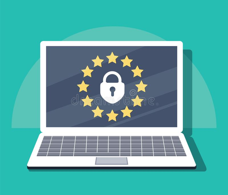 Regulamento geral da proteção de dados - GDPR Ilustração do vetor ilustração royalty free