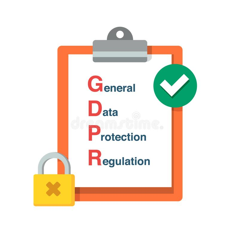 Regulamento geral da proteção de dados de GDPR Ilustração lisa do projeto do vetor Conceito da informação de segurança ilustração do vetor