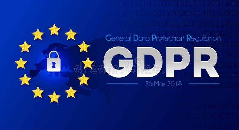 Regulamento geral da proteção de dados - GDPR Ilustração w do vetor ilustração do vetor
