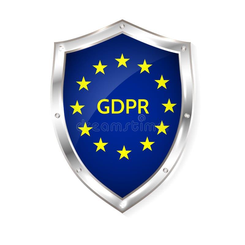 Regulamento geral da proteção de dados da UE ilustração do vetor do gdpr do eu ilustração stock