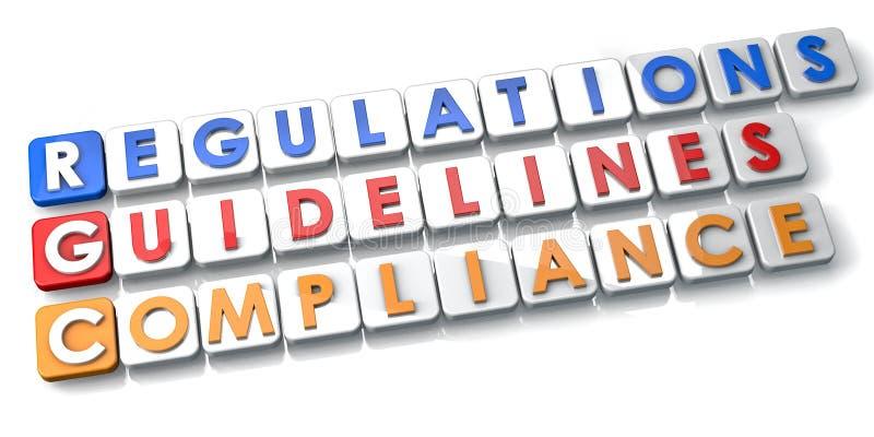 Regulamentos e diretrizes da conformidade ilustração royalty free