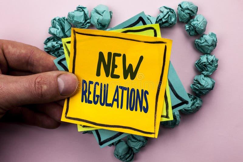 Regulamentos novos do texto da escrita A mudança do significado do conceito das leis ordena as especificações de padrões incorpor fotografia de stock royalty free