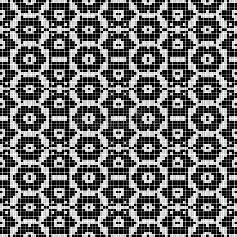 Regular black and white curtain pattern aligned in square. Halftone rich pattern illustration. Abstract fractal background. Regular black and white curtain royalty free illustration