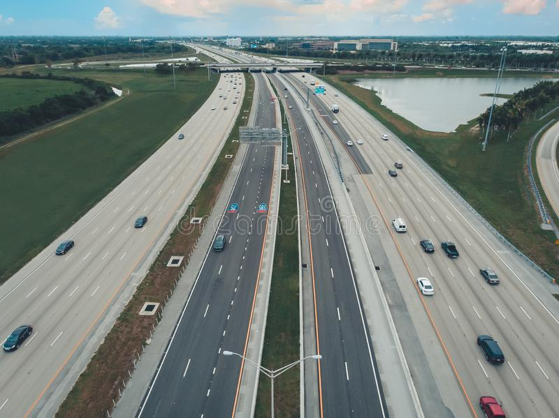 Regular car traffic on Interstate I75 South Bond in South Florida, USA, aerial view.  royalty free stock images