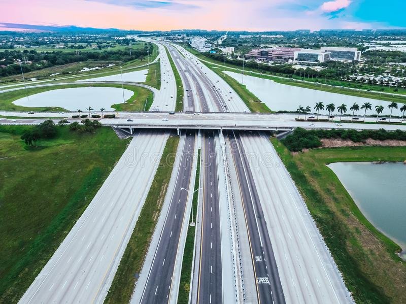 Regular car traffic on Interstate I75 South Bond in South Florida, USA, aerial view.  stock photos