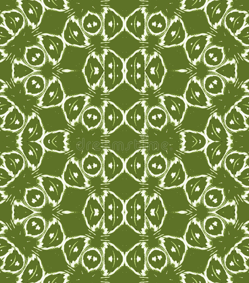 Regular circles and ellipses pattern olive green white stock illustration