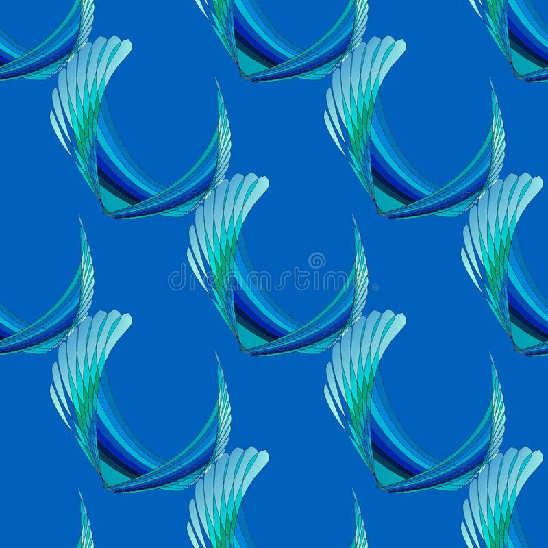 Regular curved stripes pattern blue green turquoise diagonally. Abstract geometric seamless modern background. Regular curved stripes pattern in blue, green and stock illustration