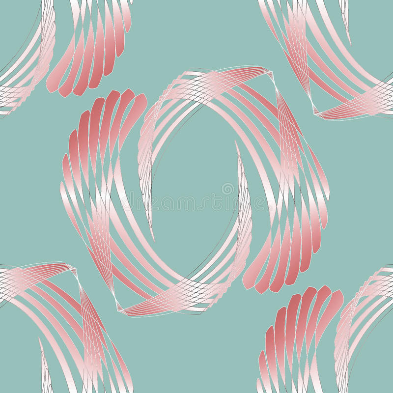 Regular curved stripes pattern pink white pastel red on pale green shining royalty free illustration