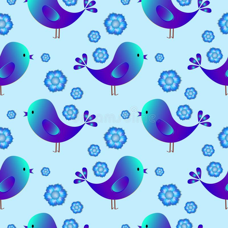 Regular seamless pattern with blue birds. Happy Easter. Seamless pattern with birds. Childish illustration in cartoon style. Color blue stock illustration