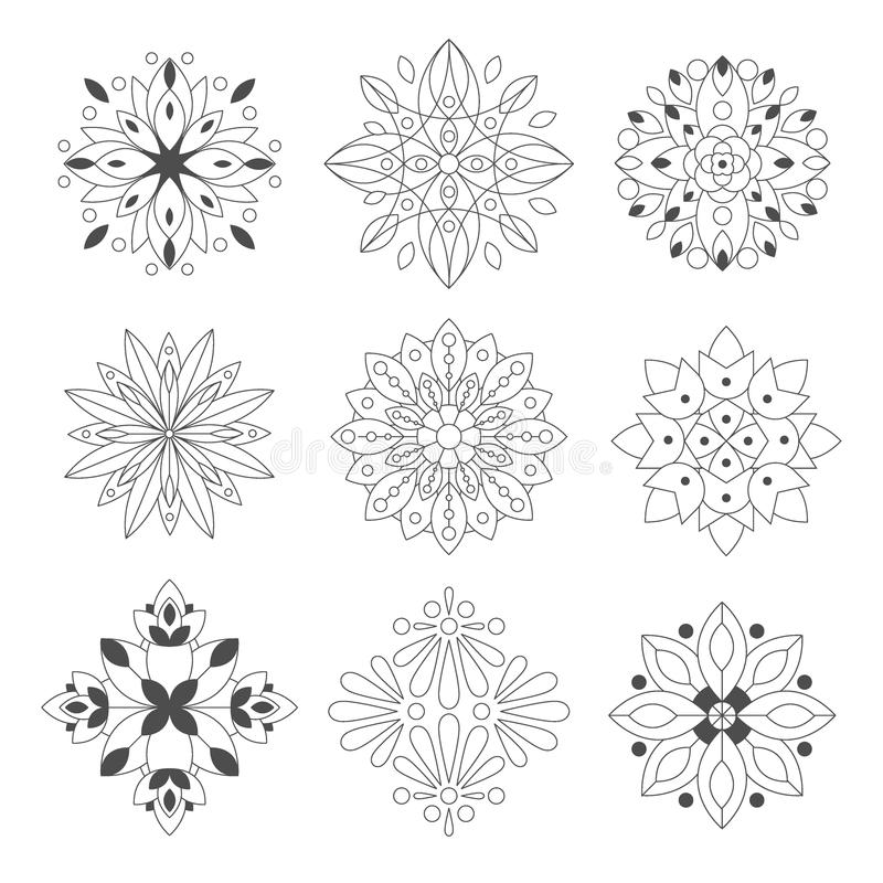 Regular Shape Doodle Ornamental Figures In Monochrome Colors For The Zen Adult Coloring Book Set Of Illustrations stock illustration