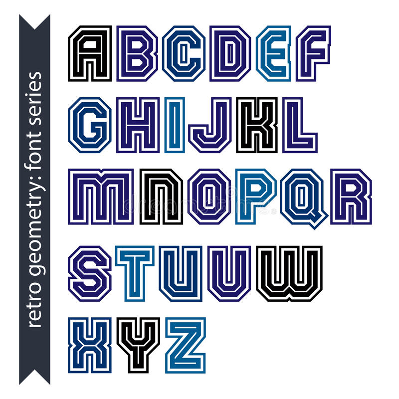 Download Regular Stylish Font With Straight Lines Only. Triple Sans Serif Stock Illustration - Image: 42207780