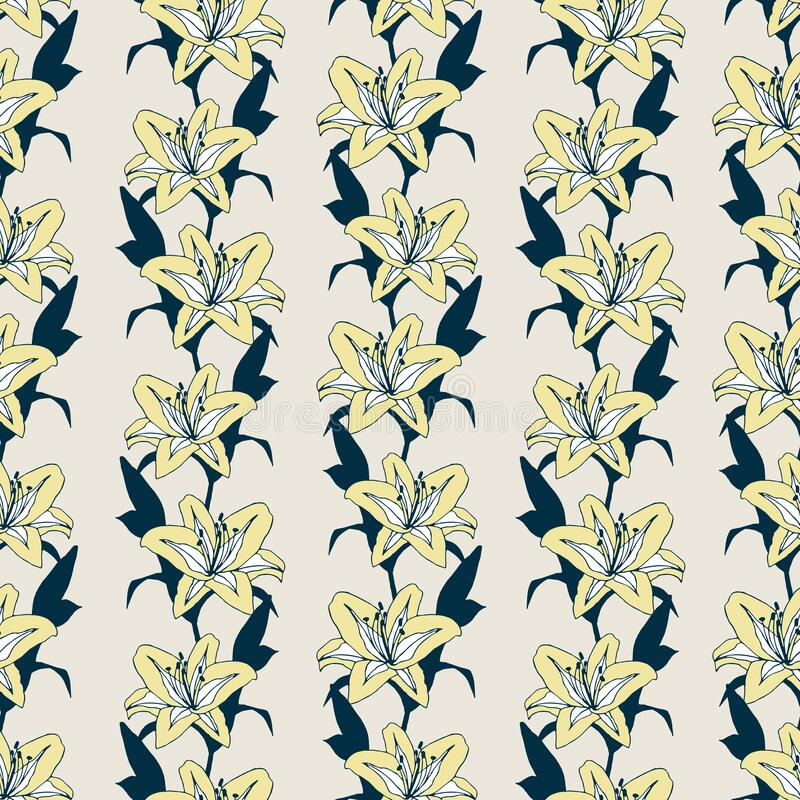 Regular vector pattern with yellow romantic lilies royalty free stock images