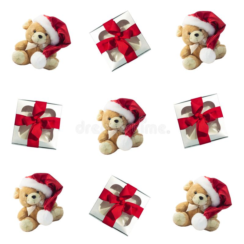 Regular winter pattern with red gift boxes and cute soft rat toy.Flat Christmas background with presents. Fabric design. ЭRegular winter pattern with red stock images