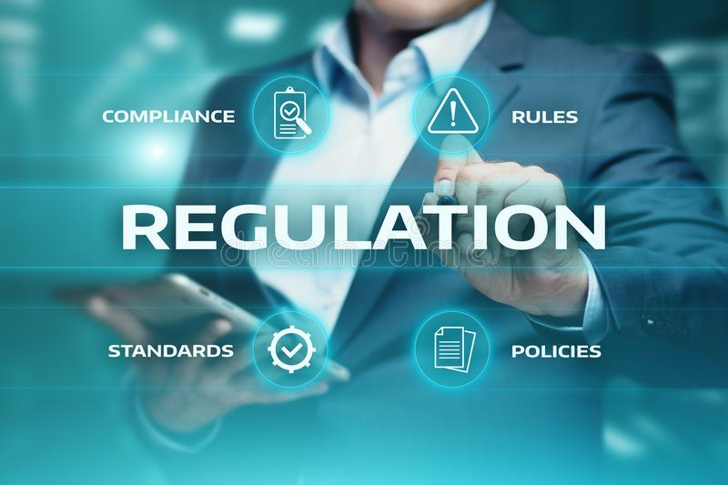 Regulation Compliance Rules Law Standard Business Technology concept stock photo